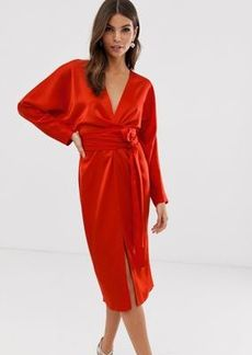 ASOS DESIGN satin midi dress with batwing sleeve and wrap waist in red