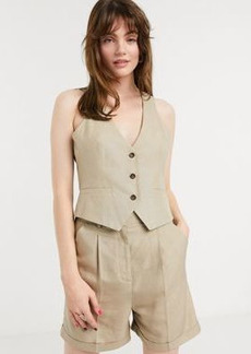 ASOS DESIGN scoop neck suit two-piece suit vest in taupe