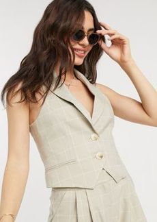 ASOS DESIGN suit suit vest in camel grid check