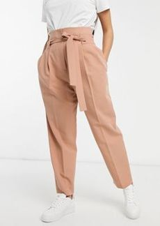 ASOS DESIGN tailored tie waist tapered ankle grazer pants
