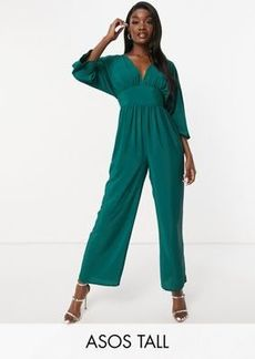 ASOS DESIGN tall kimono sleeve culotte jumpsuit in forest green