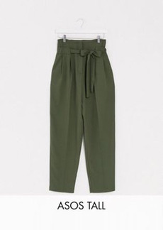 ASOS DESIGN Tall tailored tie waist tapered ankle grazer pants