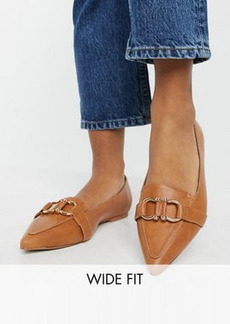 ASOS DESIGN Wide Fit Legit loafer ballet flats in tan