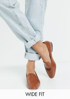 ASOS DESIGN Wide Fit Mindy flat loafers in tan croc