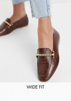 ASOS DESIGN Wide Fit Minute leather chain loafers in brown croc