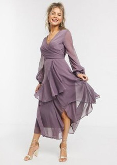 ASOS DESIGN wrap waist midi dress with double layer skirt and long sleeve in mauve