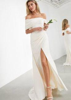 ASOS EDITION Beatrice bardot drape wrap wedding dress