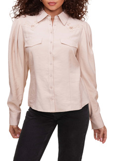 ASTR the Label Embroidered Western Button-Up Shirt