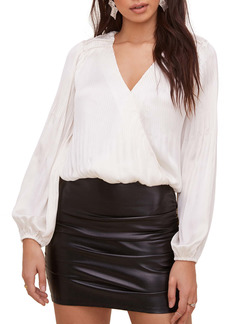ASTR the Label Pleated Satin Wrap Front Top