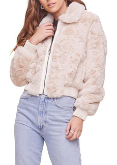 ASTR the Label Suzanne Crop Faux Fur Bomber Jacket