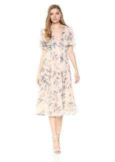 ASTR the label Women's Azalea Floral Flowy Flutter Sleeve Midi Dress Dusty Blush M