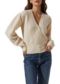 ASTR the Label Wrap Front Pointelle Sweater