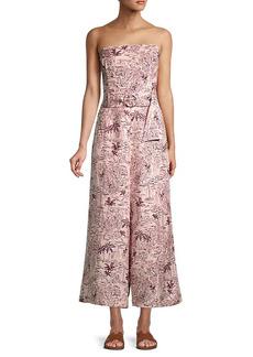 ASTR Kona Printed Linen-Blend Jumpsuit