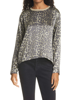 ATM Anthony Thomas Melillo Animal Print Silk Charmeuse Long Sleeve T-Shirt