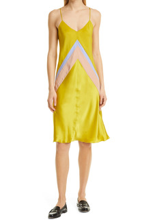 ATM Anthony Thomas Melillo Chevron Bias Cut Silk Satin Slipdress