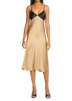 ATM Anthony Thomas Melillo Contrast Detail Silk Satin Slipdress