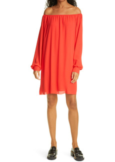 ATM Anthony Thomas Melillo Crepe Georgette Off the Shoulder Long Sleeve Dress