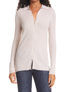 ATM Anthony Thomas Melillo Ribbed Button-Down Wool Sweater