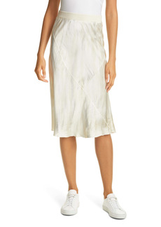 ATM Anthony Thomas Melillo Watercolor Print Silk Midi Skirt