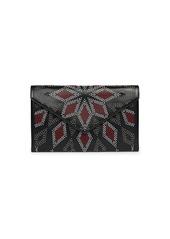 Azzedine Alaia Oum Studded Colorblock Leather Clutch