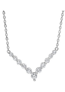 Badgley Mischka 14K White Gold, Rhodium Plated & 1 TCW Lab-Grown Diamond Pendant Necklace