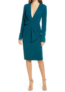 Badgley Mischka Collection Asymmetrical Bow Waist Long Sleeve Dress