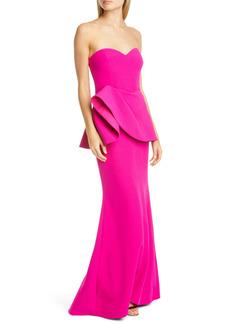 Badgley Mischka Collection Asymmetrical Peplum Gown