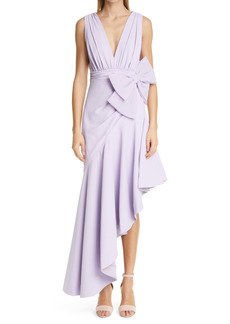 Badgley Mischka Collection Bow Detail Plunge Neck Georgette Gown