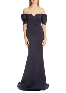 Badgley Mischka Collection Bow Sleeve Trumpet Gown