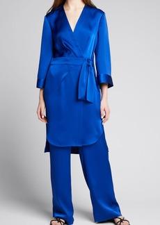 Badgley Mischka Collection 3/4-Sleeve Satin Wrap Kimono Jacket