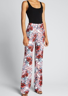 Badgley Mischka Collection Floral Paisley-Print Crepe Pants