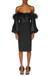 Badgley Mischka Collection Long Sleeve Feather Cocktail Dress