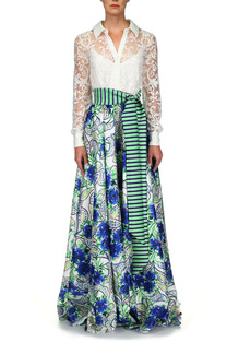 Badgley Mischka Collection Mixed Media Long Sleeve Lace & Print Gown