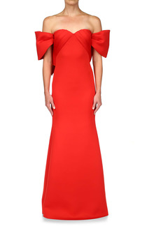 Badgley Mischka Collection Off the Shoulder Scuba Crepe Trumpet Gown