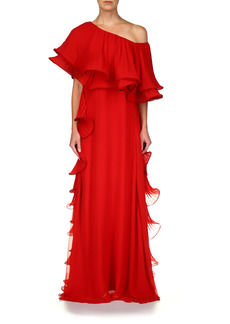 Badgley Mischka Collection One-Shoulder Pleated Ruffle Georgette Gown