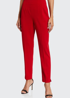 Badgley Mischka Collection Slim Back-Zip Crepe Ankle Pants
