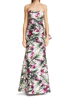 Badgley Mischka Collection Floral Print Bow Back Strapless Mermaid Gown