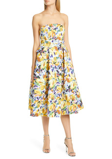 Badgley Mischka Collection Floral Print Strapless Midi Dress