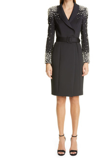 Badgley Mischka Collection Imitation Pearl Embellished Long Sleeve Cocktail Coatdress