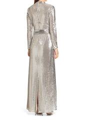 Badgley Mischka Collection Long Sleeve Sequin Evening Gown
