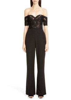Badgley Mischka Collection Off the Shoulder Lace Jumpsuit