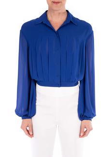 Badgley Mischka Collection Pleat Front Georgette Blouse