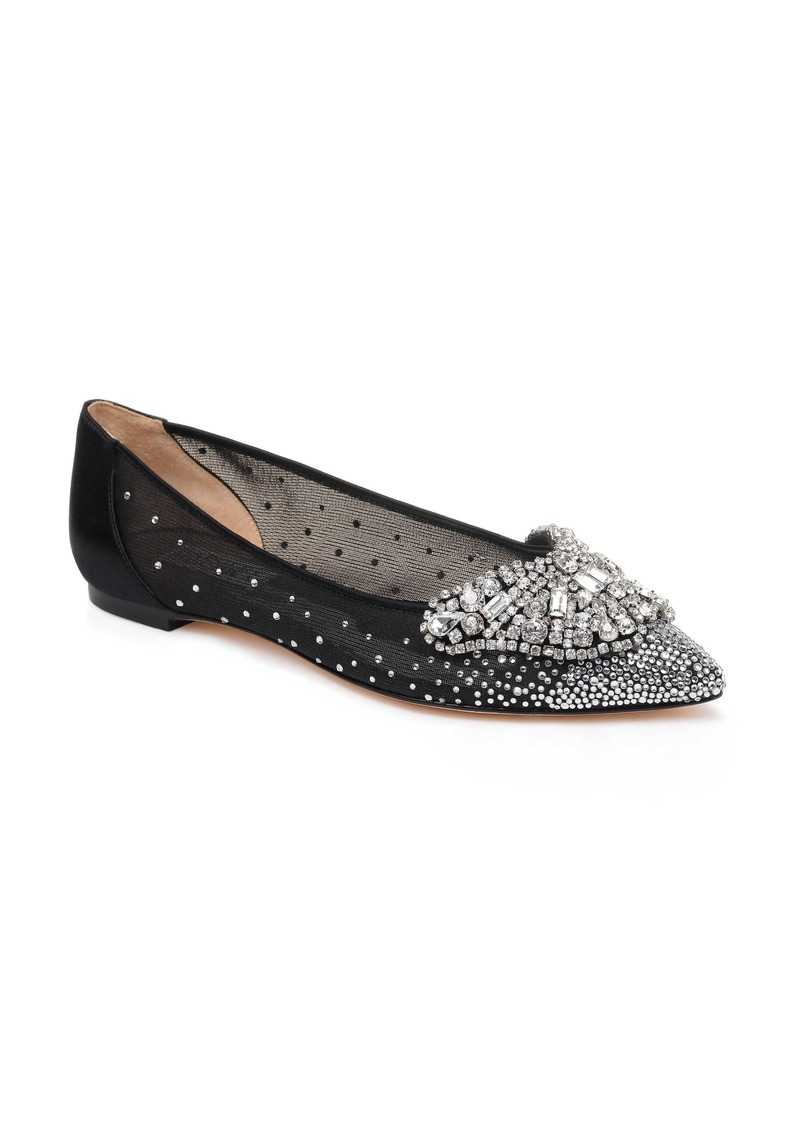 Badgley Mischka Collection Quinn Embellished Pointed Toe Flat (Women)