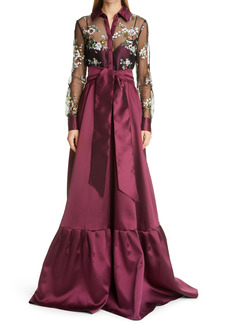 Badgley Mischka Collection Sequin Embroidery Bodice Long Sleeve Full Skirt Gown