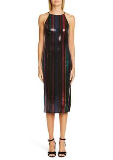 Badgley Mischka Collection Stripe Sequin Midi Evening Dress