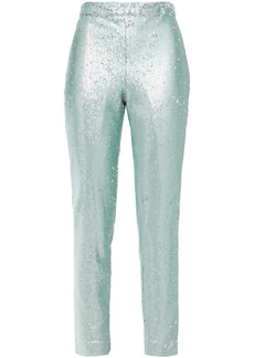 Badgley Mischka Woman Sequined Tulle Slim-leg Pants Turquoise