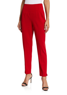 Badgley Mischka Slim Back-Zip Crepe Ankle Pants