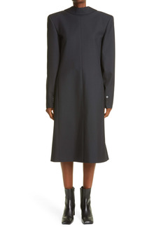 Balenciaga Back to Front Long Sleeve Wool Blend Coat Dress