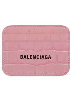 Balenciaga Cash Logo Croc Embossed Leather Card Case