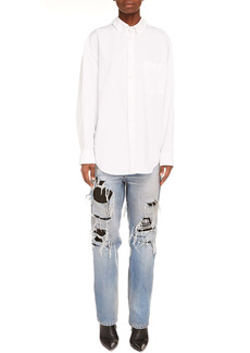 Balenciaga Double Front Button-Down Blouse